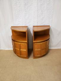 Vintage retro teak bedside tables, corner units Nathan squares