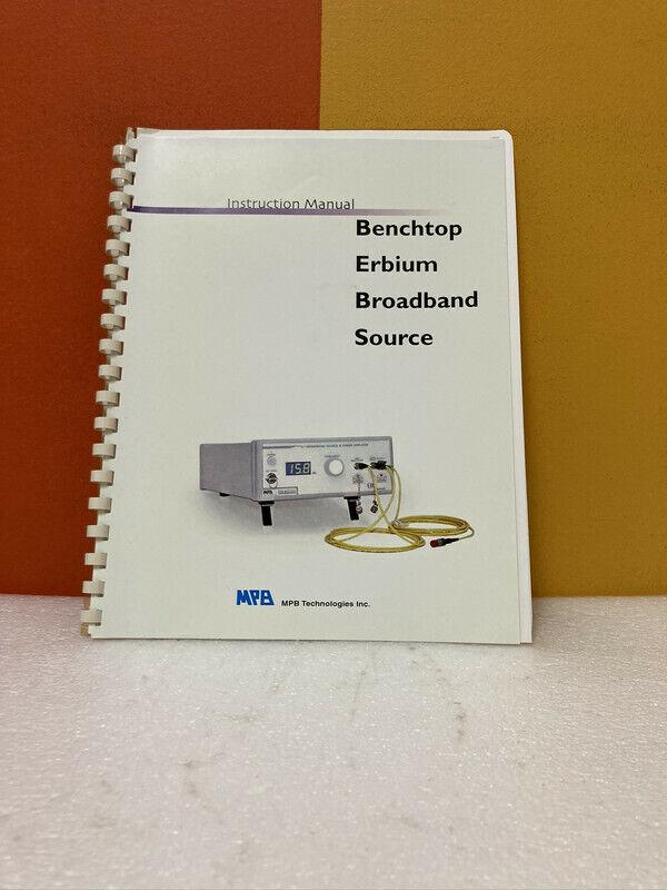 MPB Benchtop Erbium Broadband Source Instruction Manual