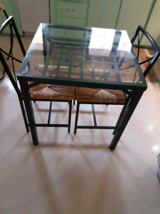 Glass Dining Table with Two Chairs