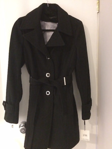 Size Small Calvin Klein Single Breasted Wool Coat with Tie Belt