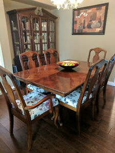 Dining Table with 6 Chairs and Buffet Hutch