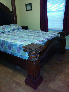 Queen bedroom set,  wood, leather, pillars