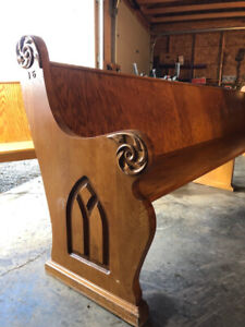 Vintage Ornate Oak Church Pew Bench
