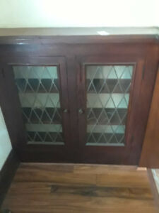 Vintage/antique 2 Bookcases 4 doors lattice stained glass doors