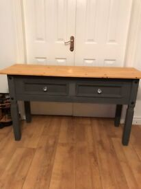 Lovely pine console table with waxed pine top, crystal style handles
