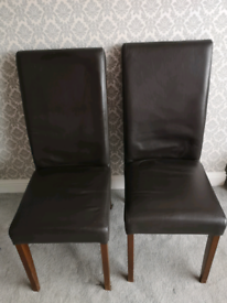 2 X M&S high back brown dining chairs