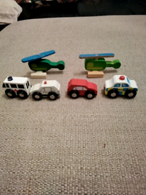 6 small wooden made toy cars