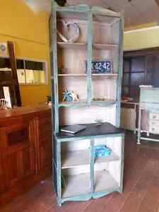 Refinished solid wood hutch/shelving unit.