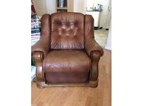 Brown leather and solid Oak 3 piece suite recliner