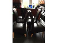 Six Genuine Leather & Oak Dining Chairs