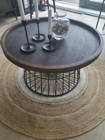 Rustic timber metal coffee table