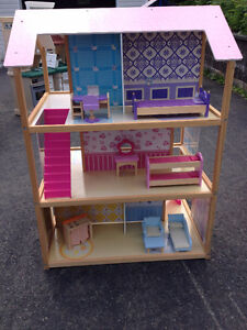 Wooden Doll House with Wooden Furniture. Like new. St. John's Newfoundland image 1