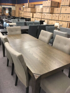 Hardwood Dining Table / 6 Fabric Dining Chairs - Delivery In!!