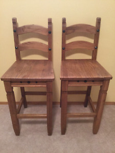 2 Wood Bar stools or Counter chairs