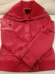 RED FAUX-LEATHER FALL JACKET BY TRIBAL