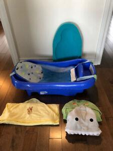 Bain + serviettes + petit matelas après le bain nouveau-né