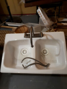 Double sink with tap
