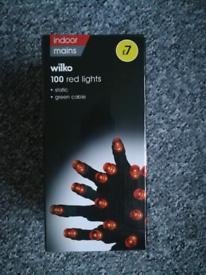 100 red indoor LED lights.
