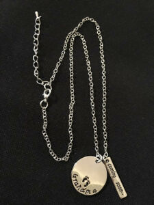 Necklace With Hand Stamped Pendants - Grandma Coming Soon