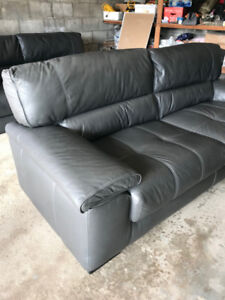Grey Leather Couches
