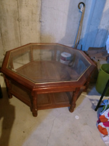 Octagon glass coffee table