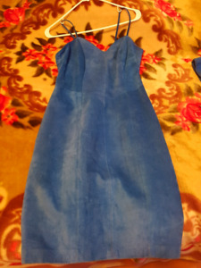 Retro Blue Suede Dress and Coat from Danier Leather- Sz ES