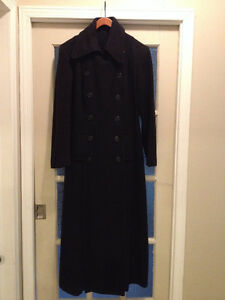 Long black wool winter coat