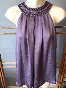 MICHAEL KORS Purple Silky Braided CHAIN HALTER TOP, Size 4/6