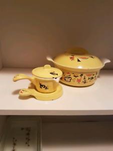 Mid century modern descoware enamel casseroles