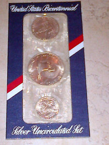 United States Bicentennial 3 Coin Uncirculated Silver Coin Set