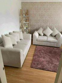Brand new jumbo cord corner &3+2 sofa