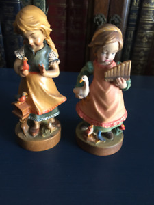 """2 DOLFI 5"""" Hand Carved Collectible Figurines"""