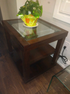 Pair of Solid Wood Framed Glass Top End Tables