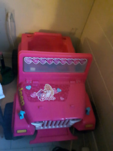 Battery powered Barbie jeep