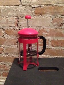 coffee French press in coral