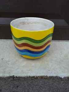 Yellow multicoloured striped planter pot decorative accent