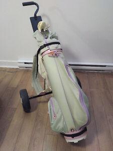 Sac de golf femme avec chariot (débutant, 7 bâtons, droitière)