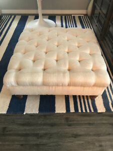 Tufted Off White Ottoman