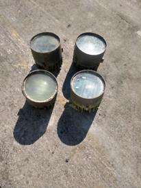 4x vintage industrial spot light lamps. Steampunk project?