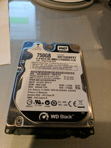 "2.5"" 750GB Western Digital Black Series Hard Drive"
