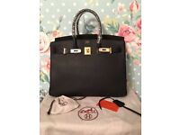 Hermes 35cm birkin bag black gold not Gucci prada celine YSL