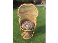 VINTAGE 1970's PEACOCK BACK WICKER CHAIR