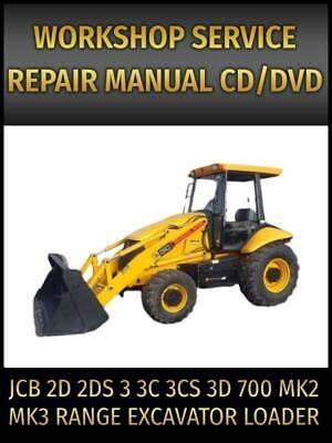 Jcb 2d 2ds 3 3c 3cs 3d 700 Mk2 Mk3 Range Excavator Loader Service Manual On Cd