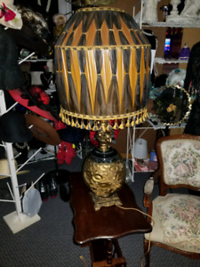 38' Vintage rare lamp - retro black gold and brass -boy and girl