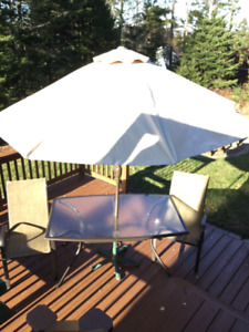 Outdoor table, chairs, umbrella and stand