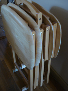 Wooden Folding (5-piece Set) Tv Tray Table