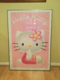 Large hello kitty framed print.