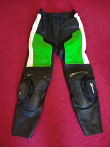 Leather Pants Green, Black, and White Motorcycle Bike