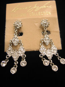 KENNETH JAY LANE CRYSTAL CHANDELIER CLIP EARRINGS