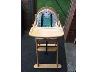 East Coast Wooden High Chair with padded insert